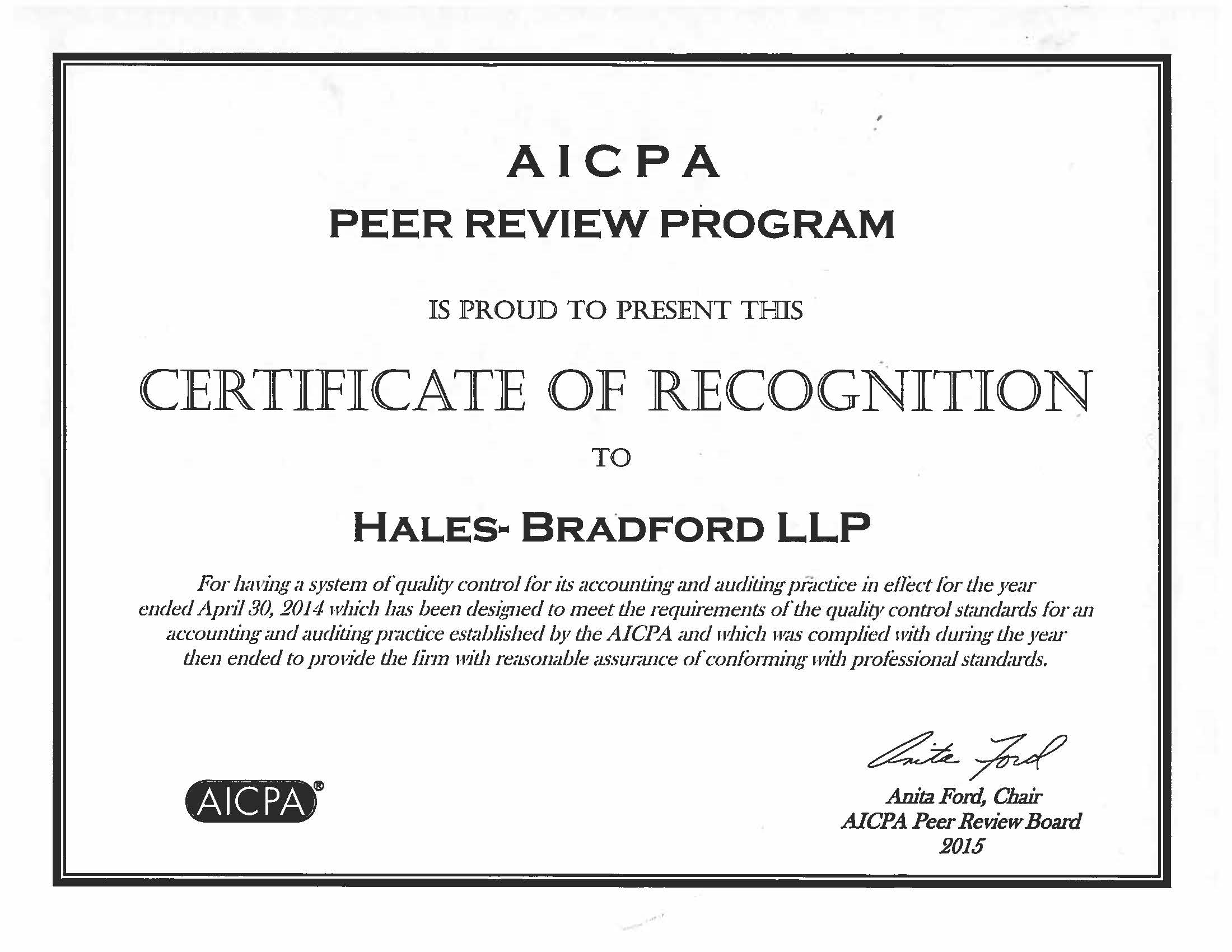 Hales bradford llp a professional tax and accounting firm in aicpa certificate 1betcityfo Images